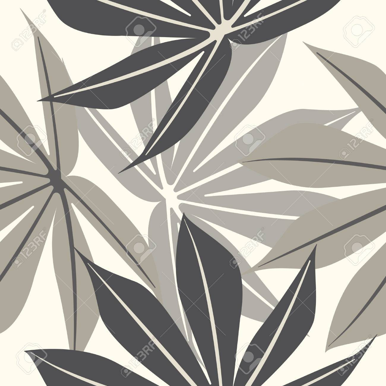 elegant endless pattern with tropical leaves template with