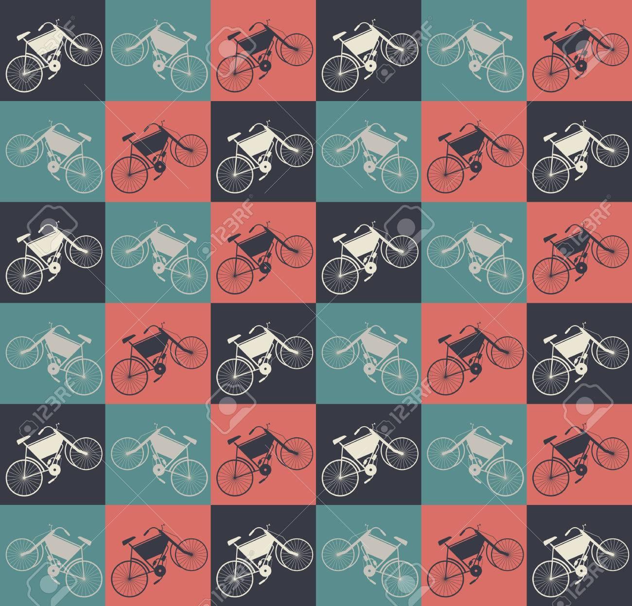 Elegante Nahtlose Muster Mit Retro Bikes Perfekten Hintergrund Fr Bettwsche Tapeten Grusskarten