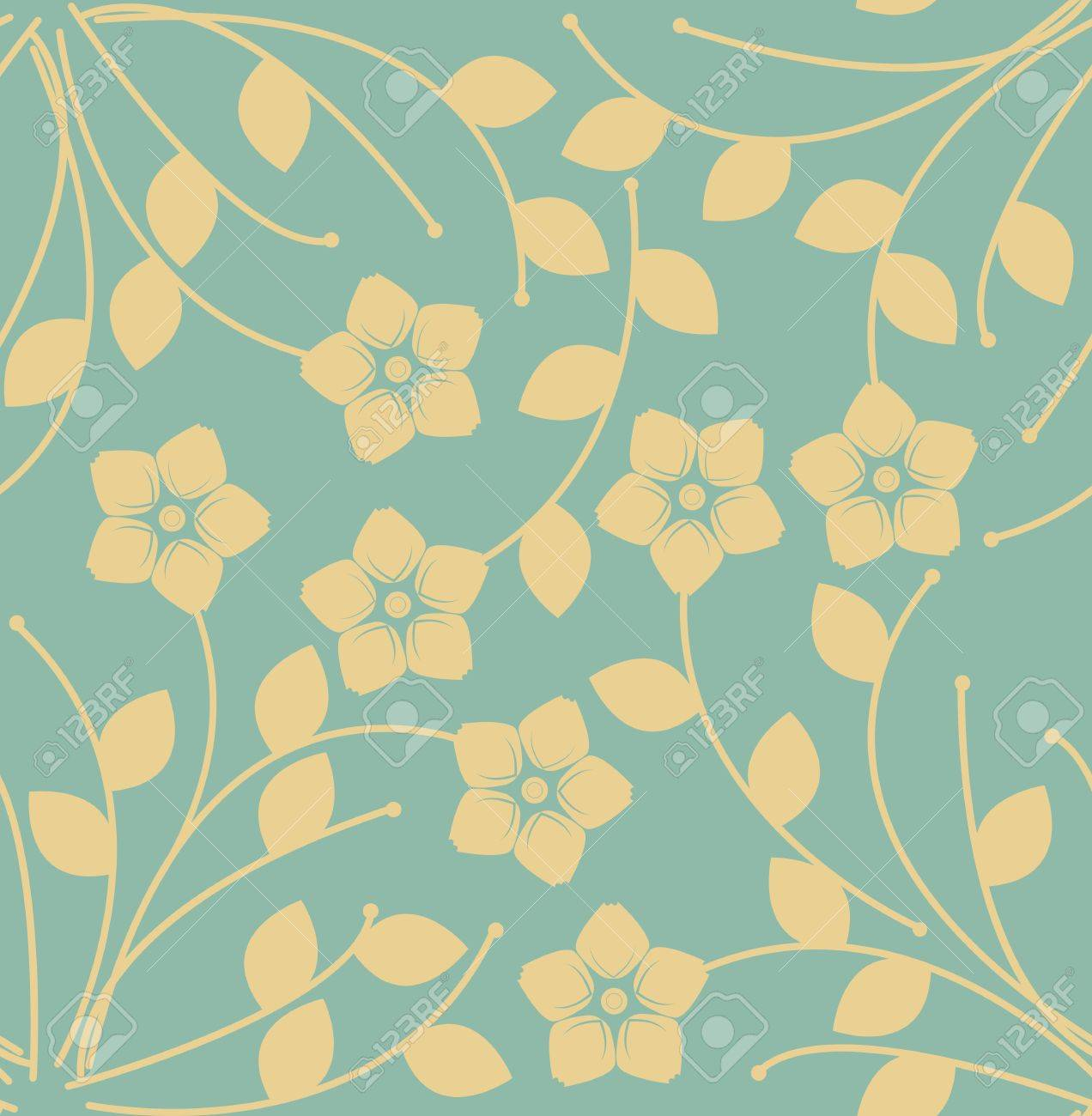 elegant endless pattern with decorative flowers and leaves can