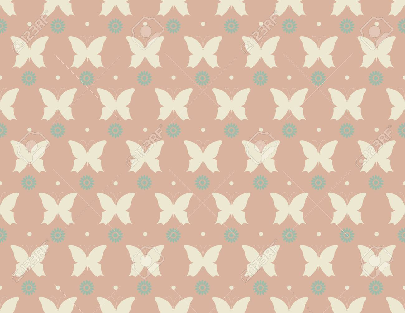 Cute Pattern With Butterflies And Flowers Can Be Used For Paper
