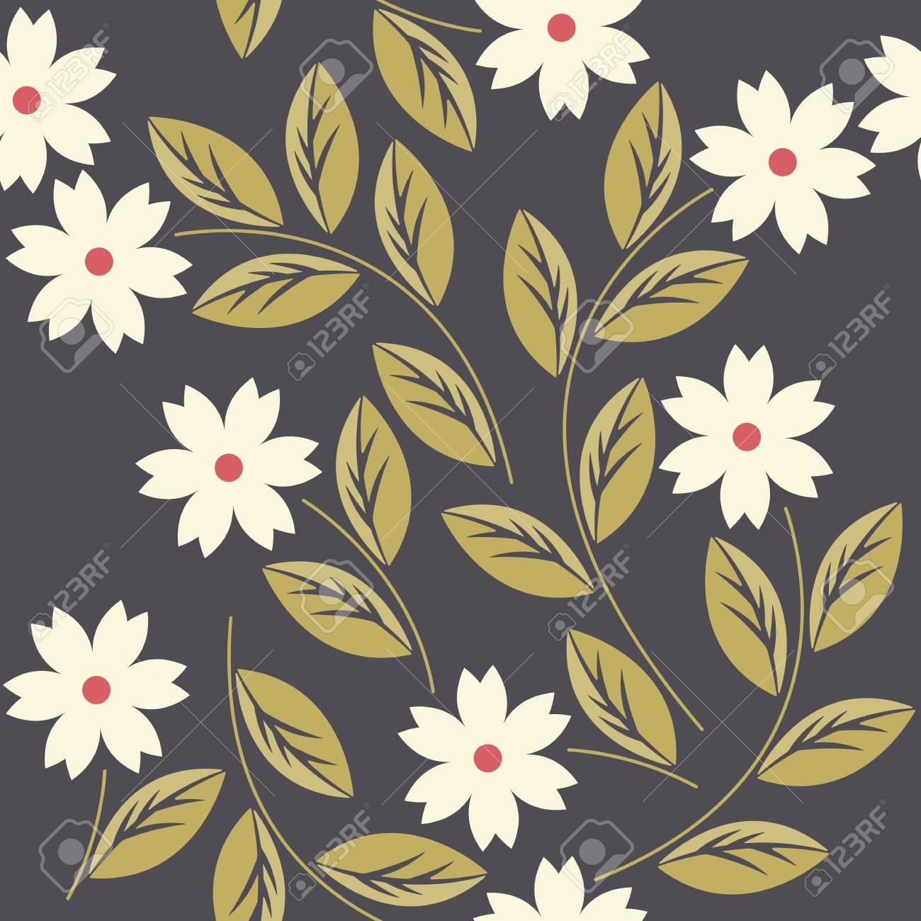 Modelo Inconsútil Elegante Con Flores De Color Blanco Se Puede ...