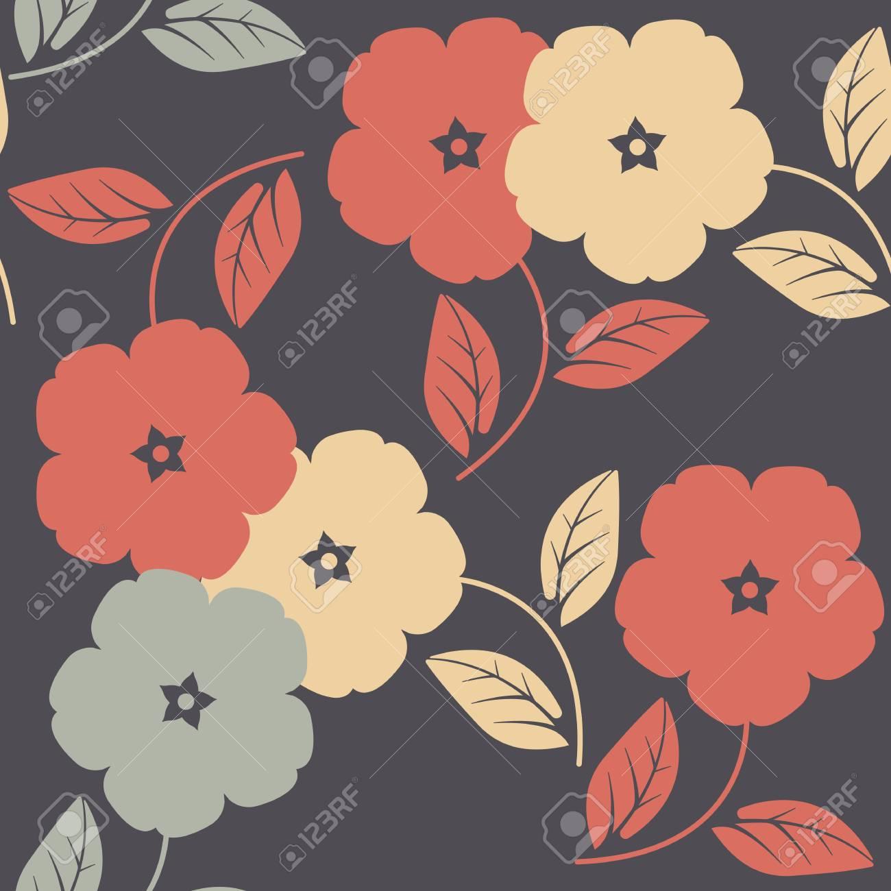 Patrón Sin Fisuras Con Flores Y Hojas De Colores Se Puede Utilizar ...