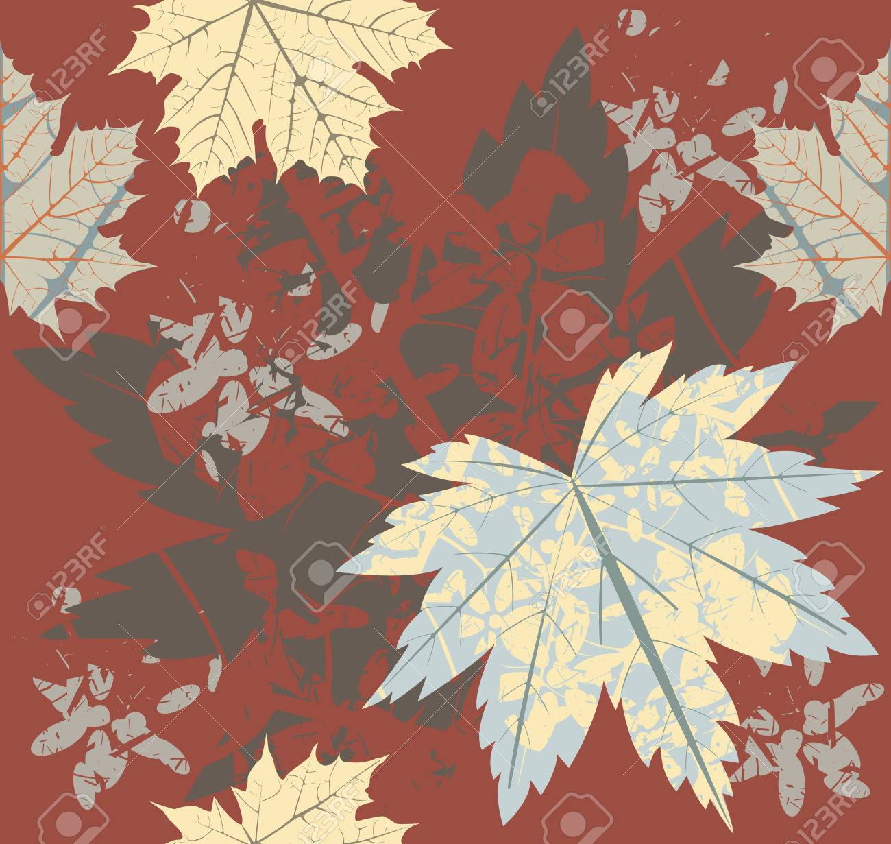 seamless pattern with autumn maple leaves template can be used