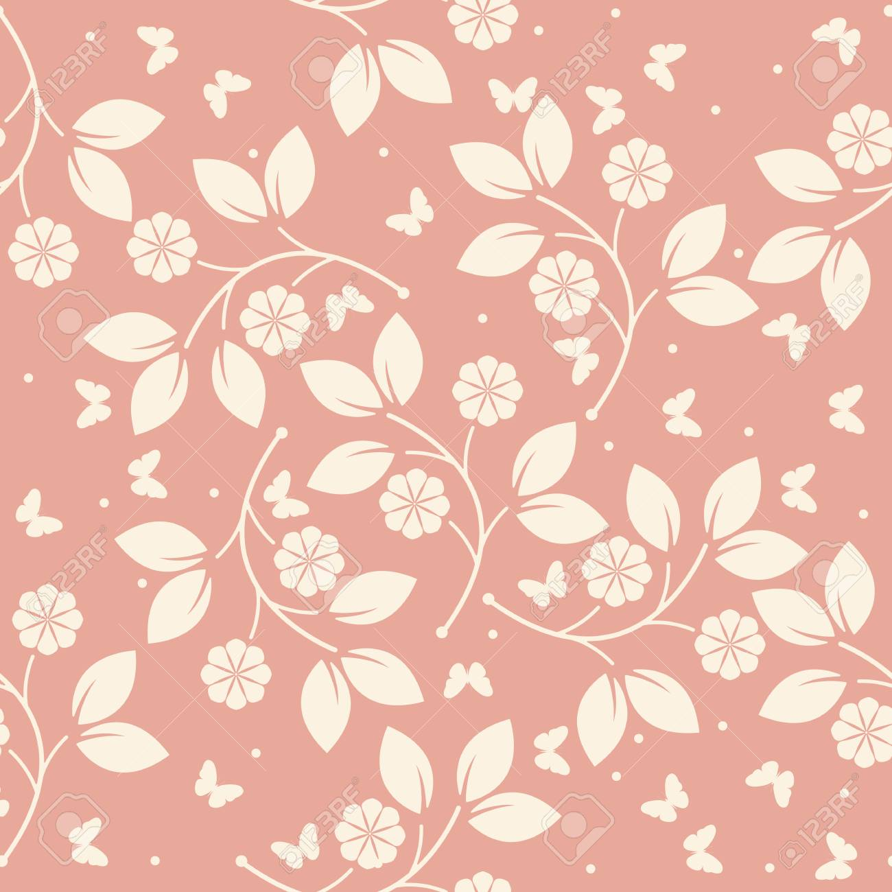 Stylish Endless Pattern With Butterflies Flowers And Leaves