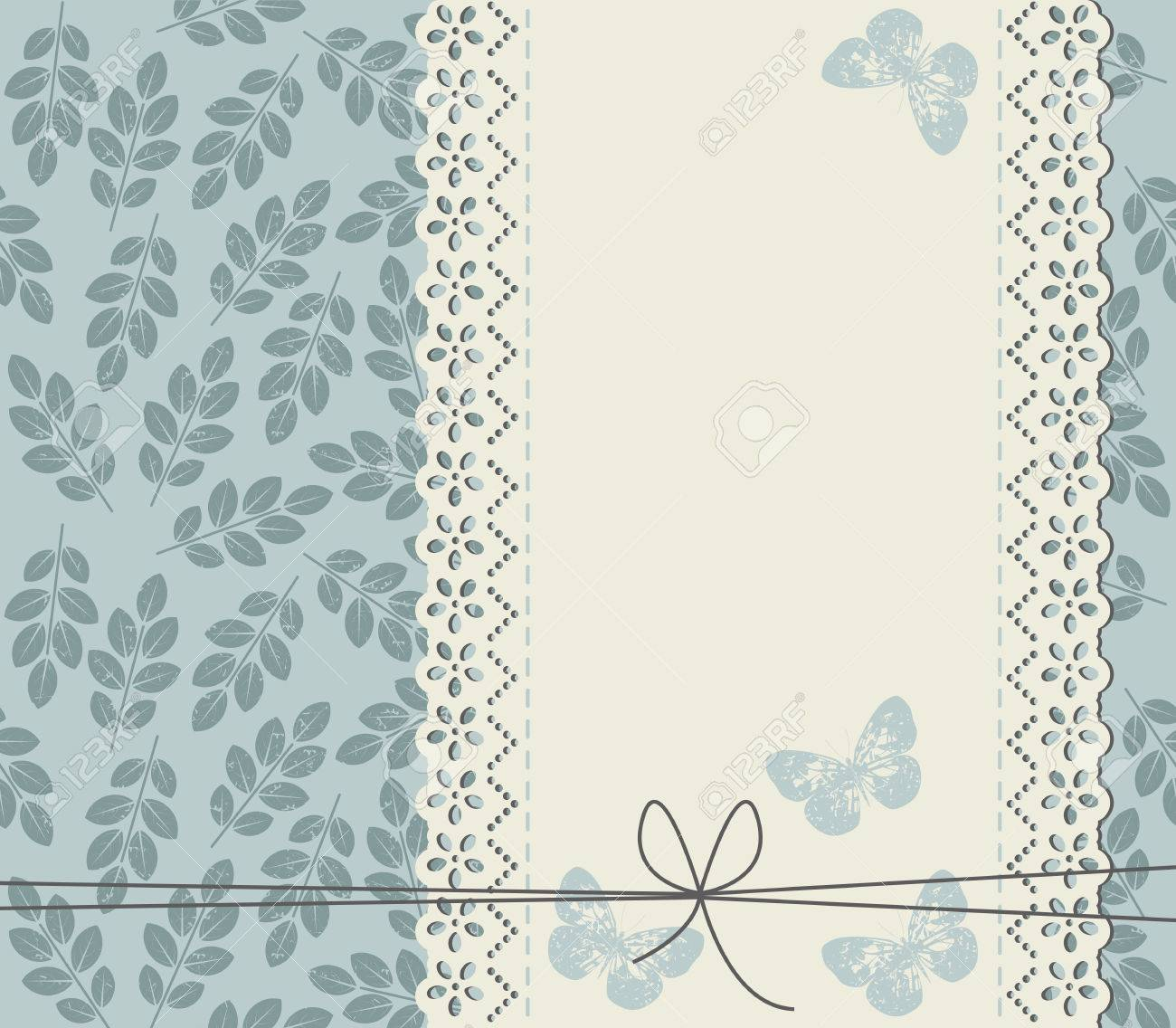 Stylish Background With Leaves And Lace Frame For Your Designs Cute