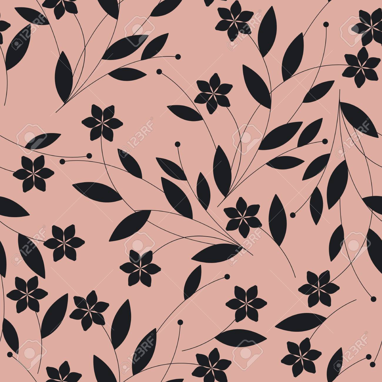Seamless Pattern With Black Flowers On Pink Background Elegant