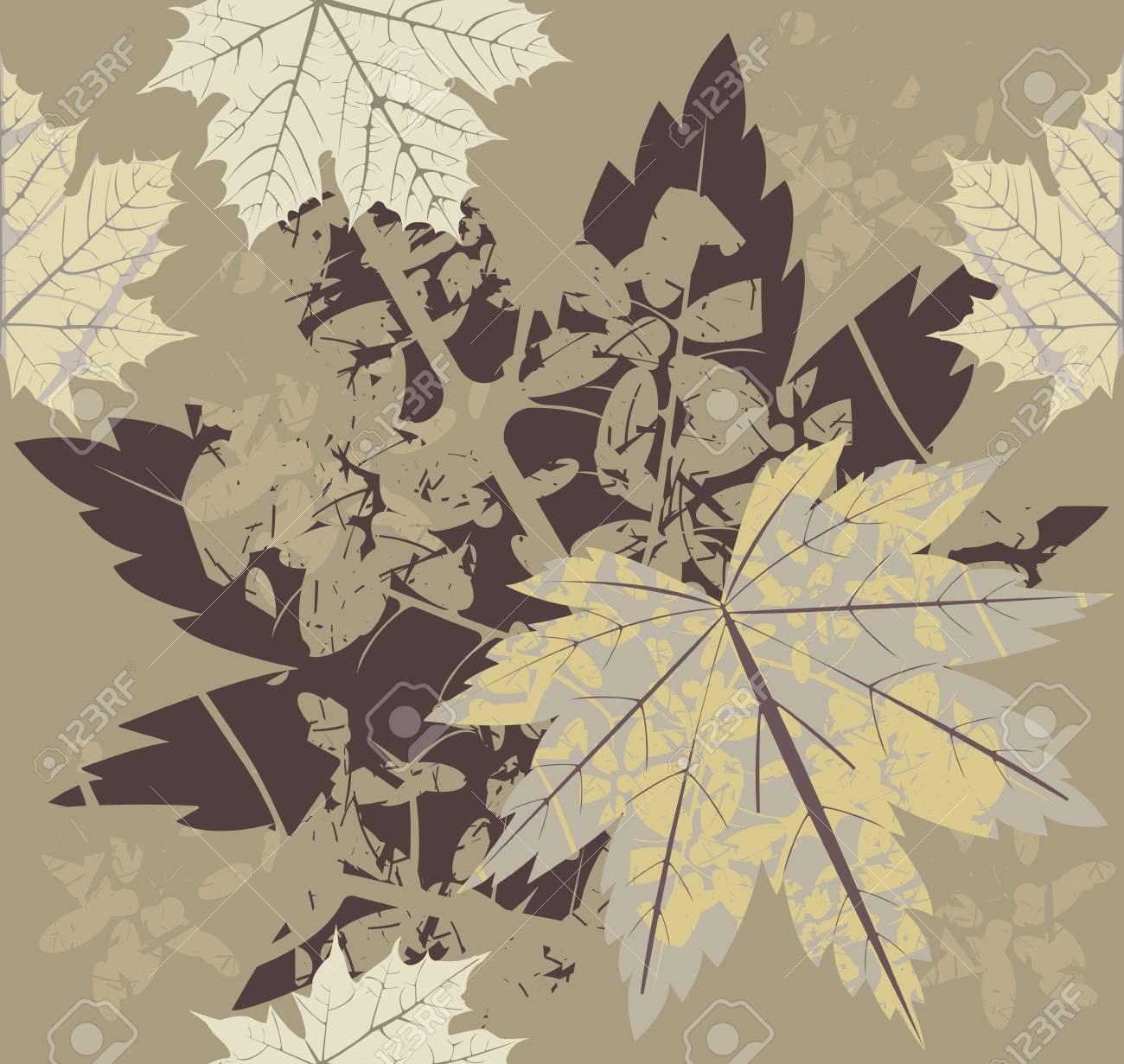 Nahtlose Muster Mit Herbstlaub. Vorlage Für Design Stoff, Leinen ...