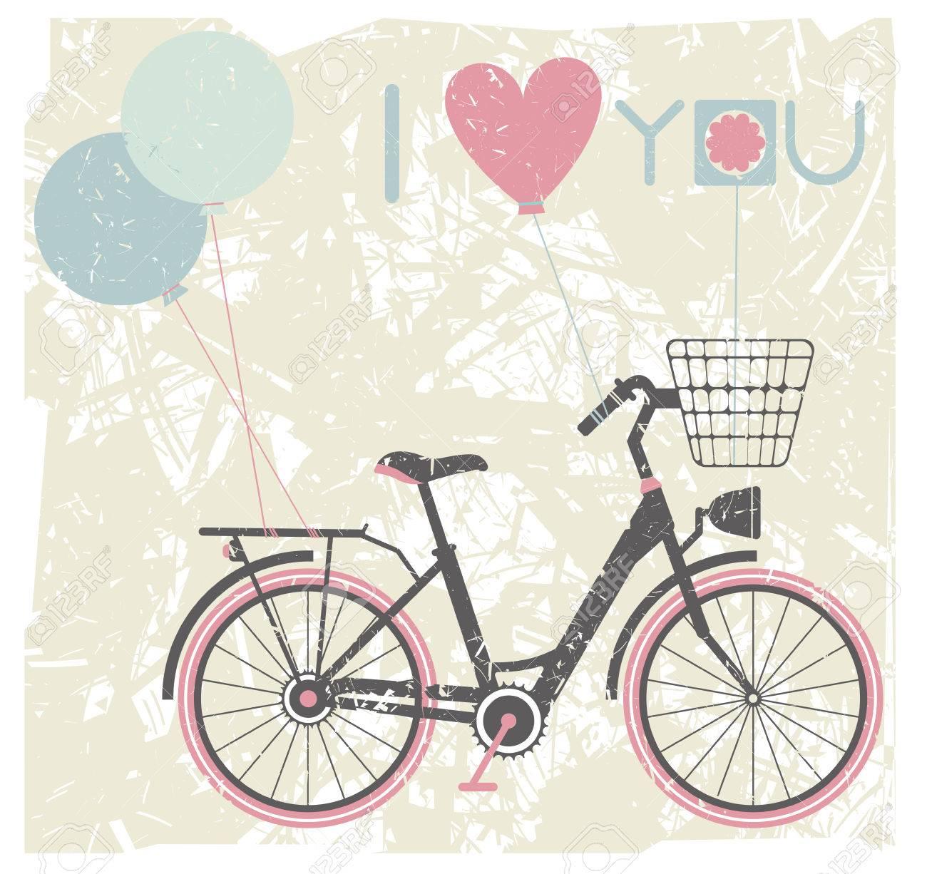 ad8ddcdc3e2ec Fondo de San Valentín tarjeta de felicitación del día  con la bicicleta