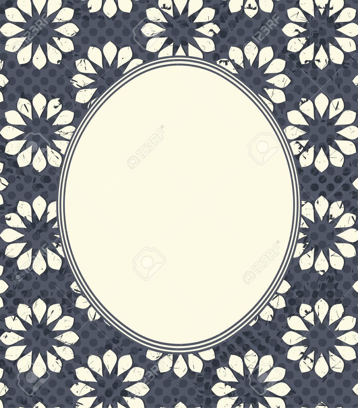 Marco Oval Con Las Flores Elegantes. Marco Retro Con Un Diseño ...