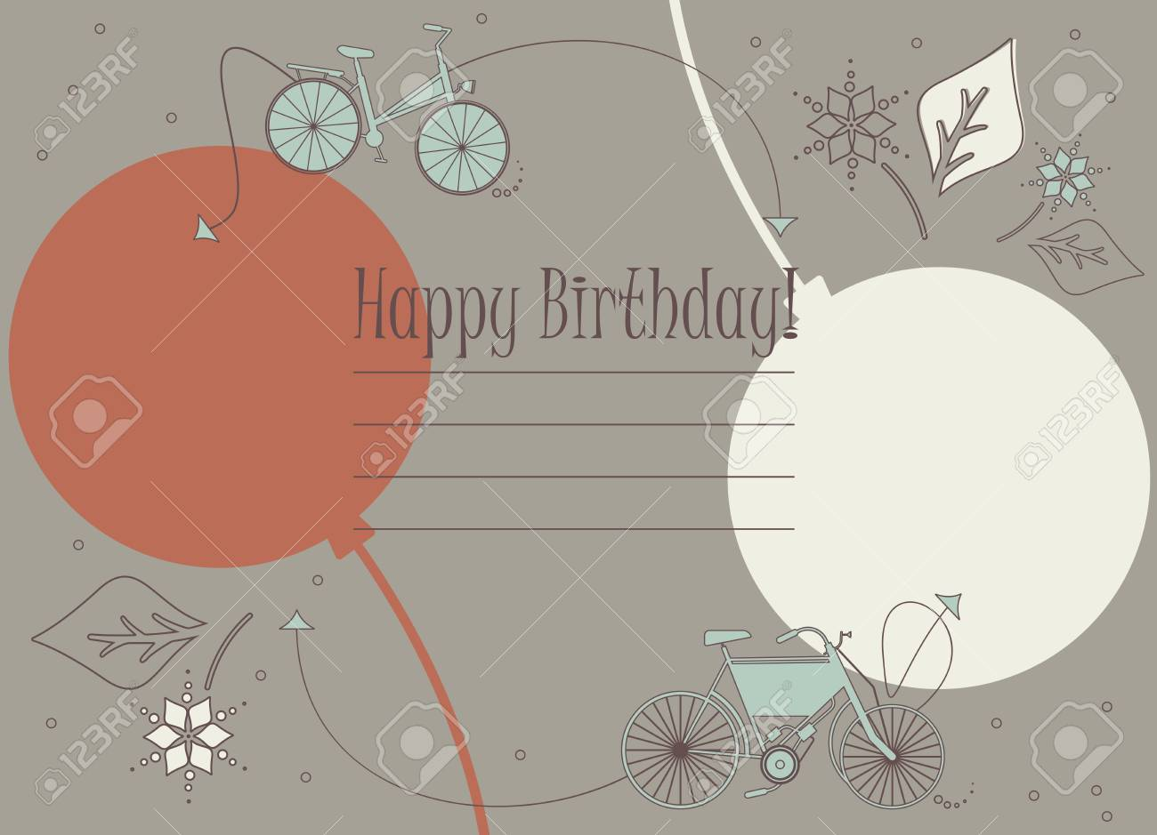 Birthday Greeting Card With Cute Bicycles Balloons And Flowers