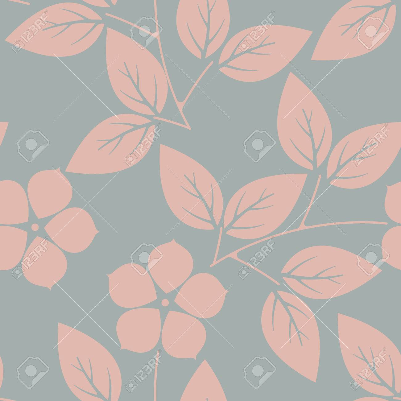 Stylish Endless Pattern With Pink Flowers And Leaves On Grey
