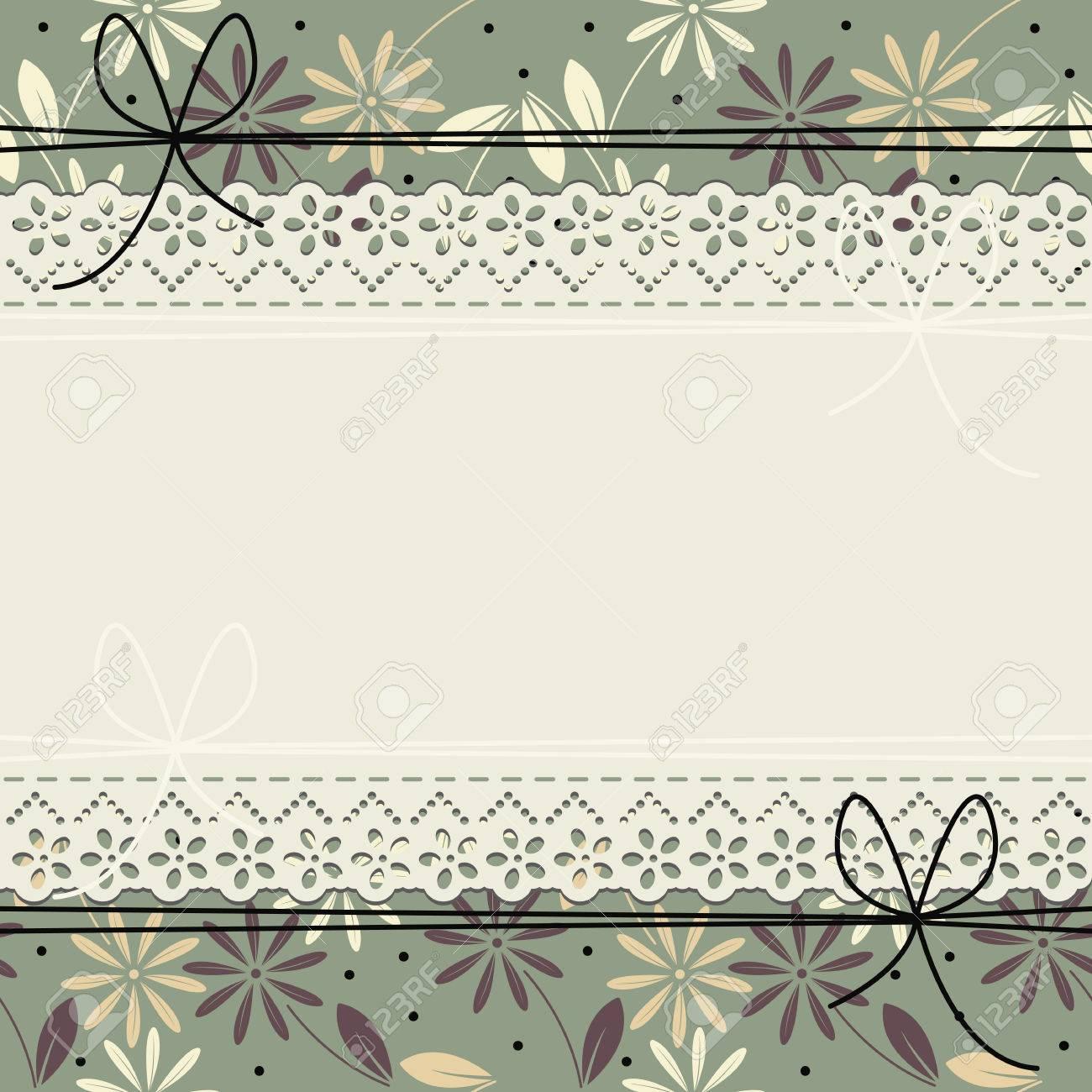 Tarjeta De Felicitación Elegante Con Flores Marco Del Cordón Y De La ...