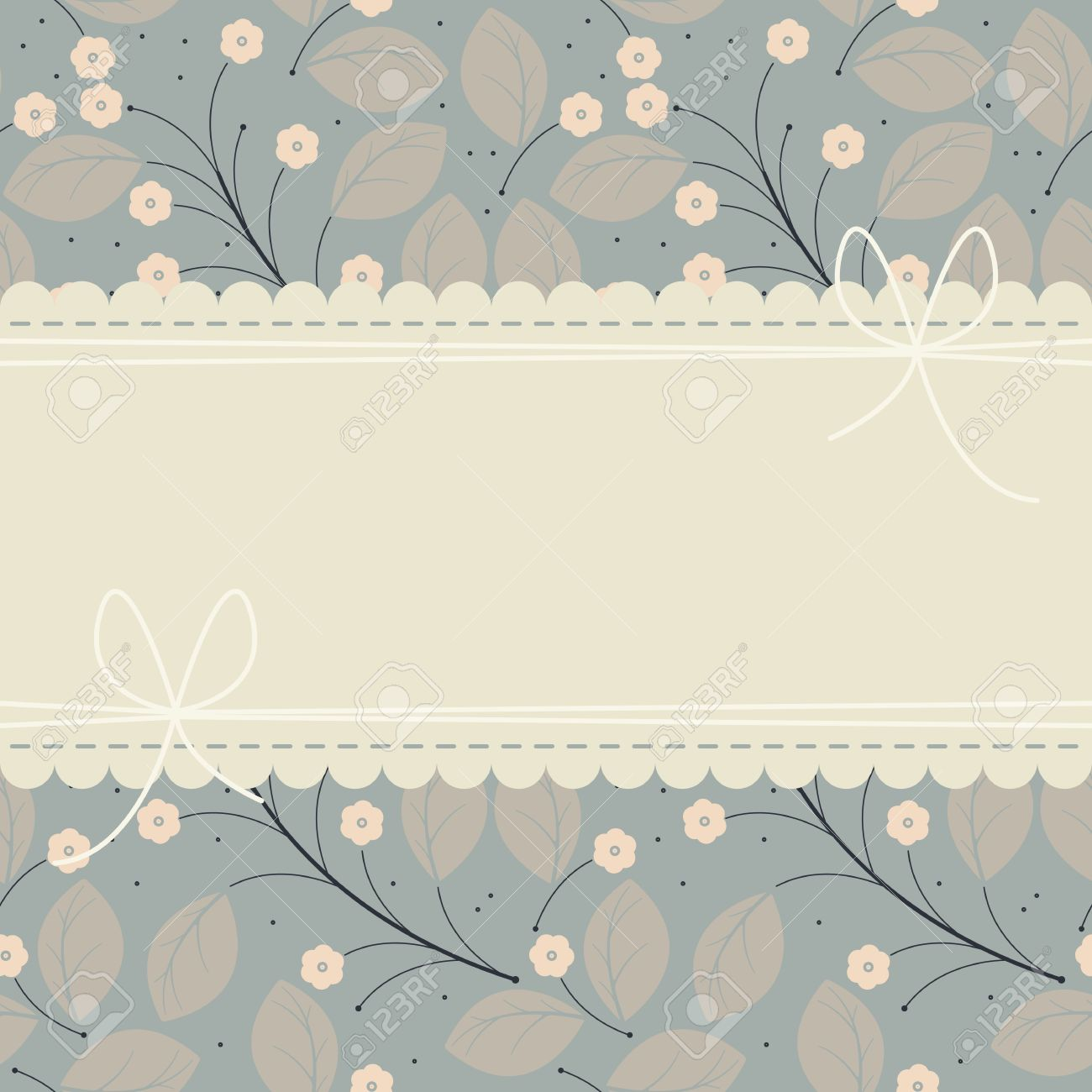 Stylish Wedding Invitation With Flowers, Leaves And Lace Frame ...