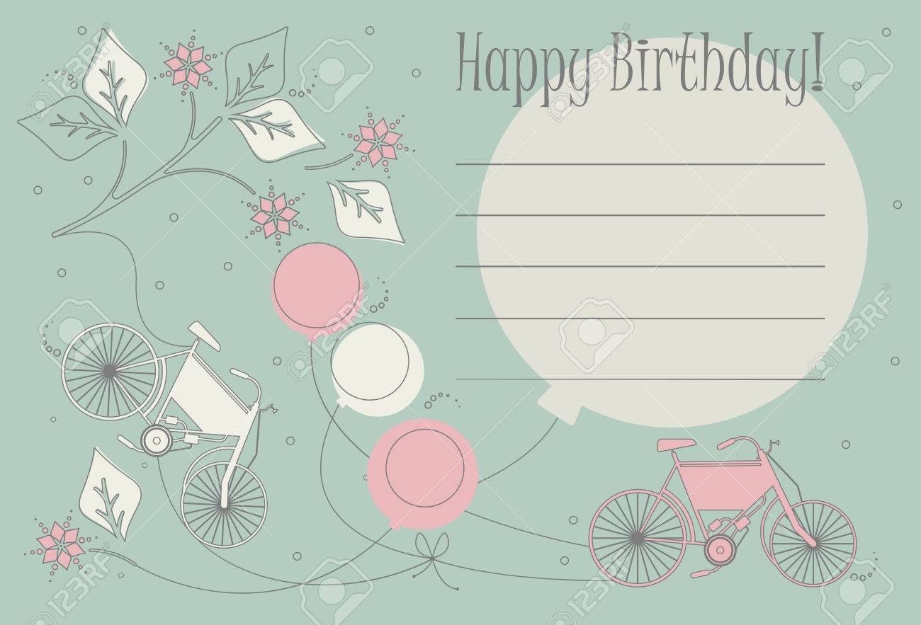Biglietto Di Auguri Per Il Compleanno Romantico Con Biciclette Palloncini E Fiori Carini Può Essere Utilizzato Per Biglietti Di Auguri Inviti Di