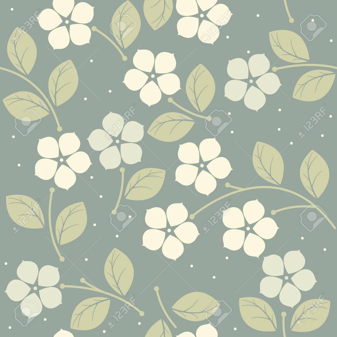 Modelo Inconsútil Del Verano Con Flores De Color Blanco Se Puede ...