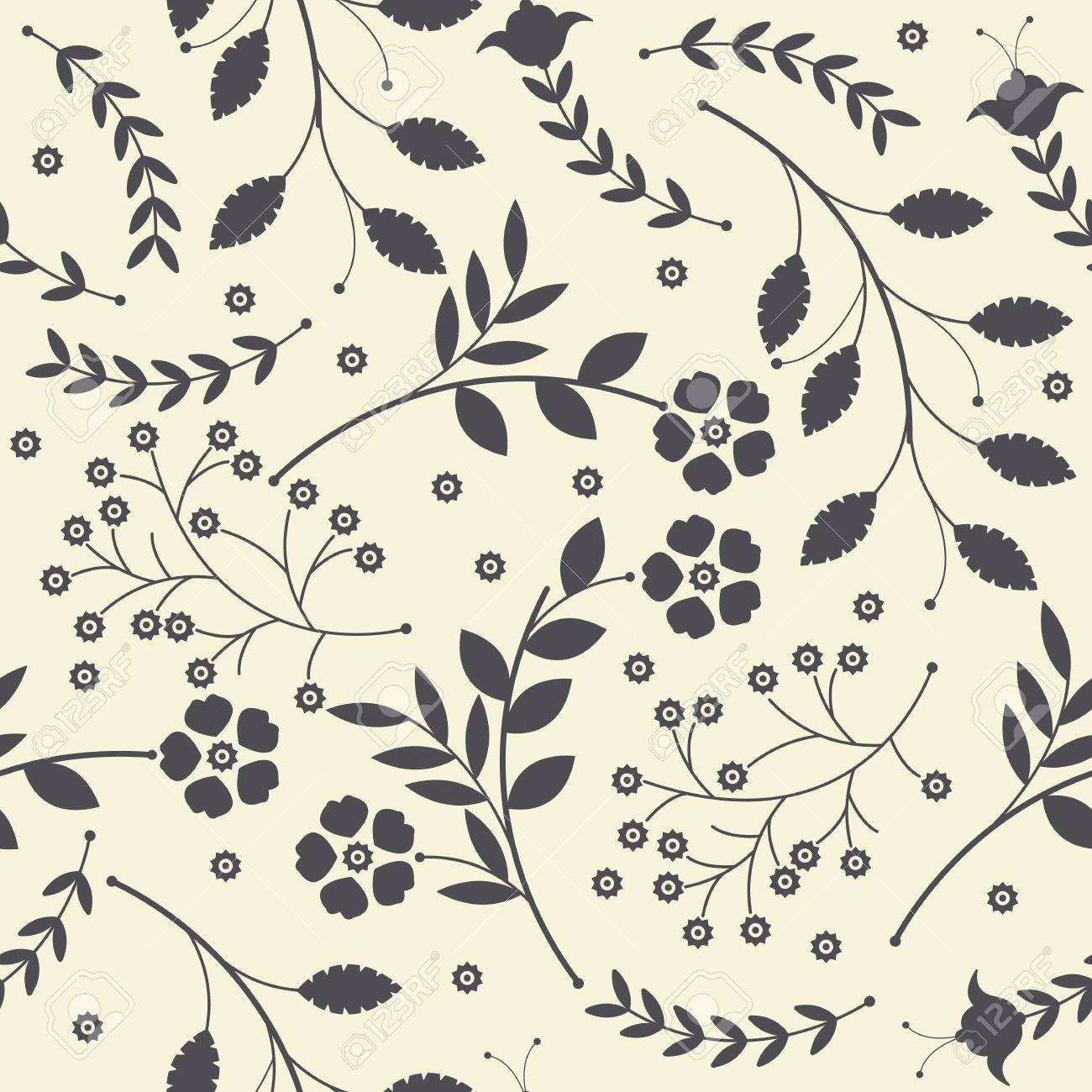 Seamless Pattern With Cute Spring Flowers Leaves And Decorative
