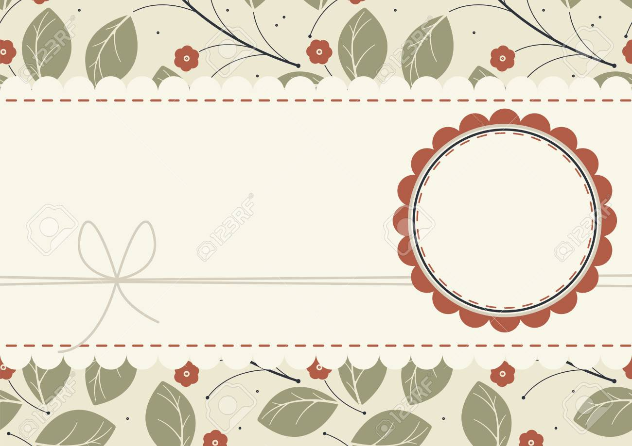 Stylish Card With Red Flowers Lace Frame And Circle Frame Can
