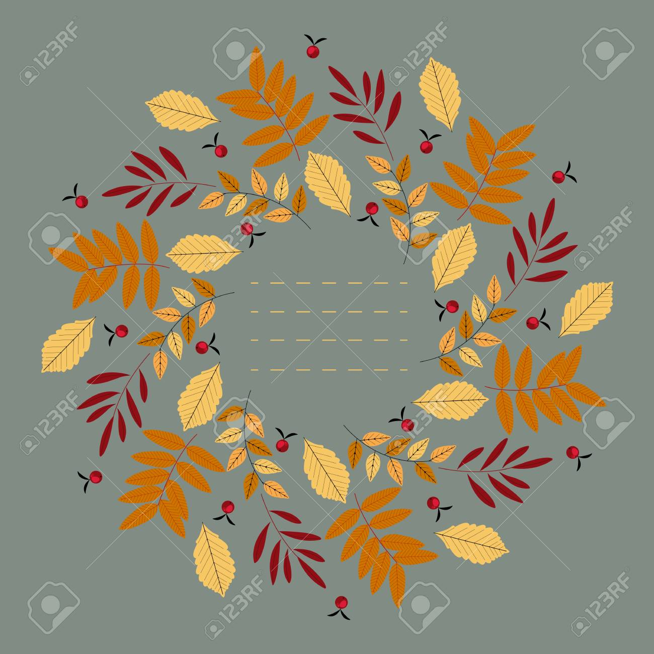 Stylish Round Frame With Decorative Autumn Leaves Can Be Used ...
