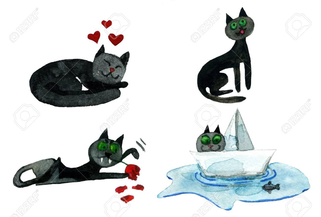 Lustige Susse Katzen Schlafende Katze Herzen Valentinstag Nacht