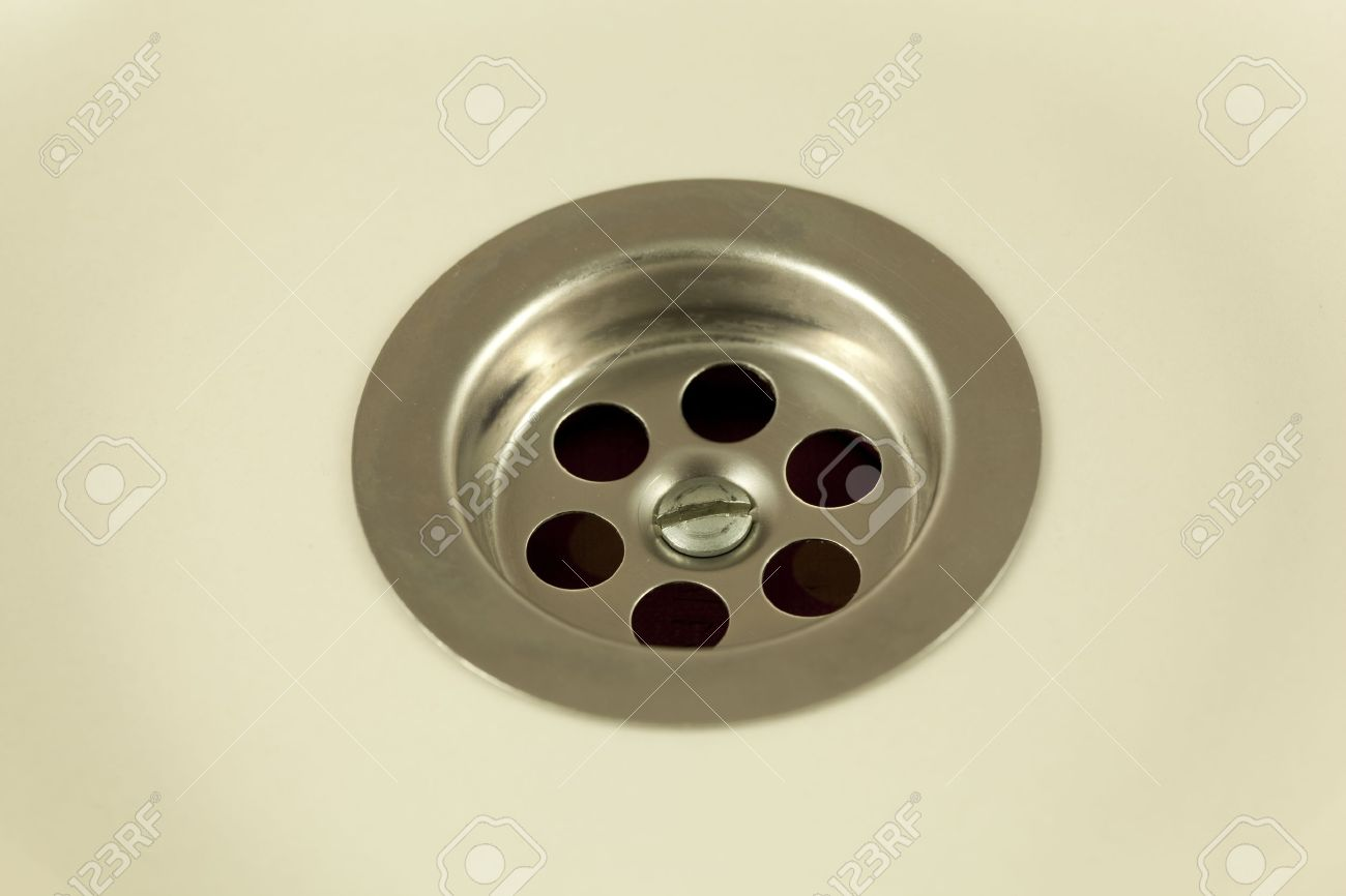 Perfect Hole Of Drain Water In Bathroom Sink Stock Photo   12945481