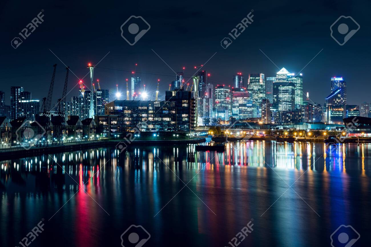 Night View of Part of the Canary Wharf District and Part of the Residential Buildings in the City of London, UK - 146335393