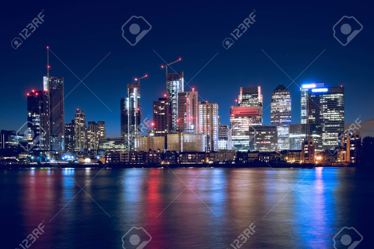 Night Time Skyline View of Modern Business District Canary Wharf in London - 146474367