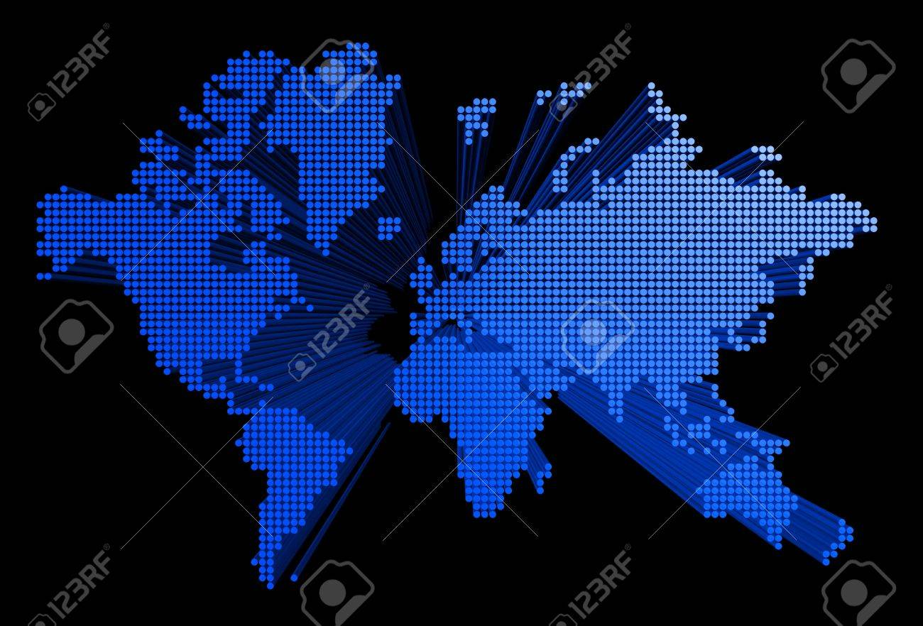 three dimensional spotted world map on black background Stock Photo - 5267097