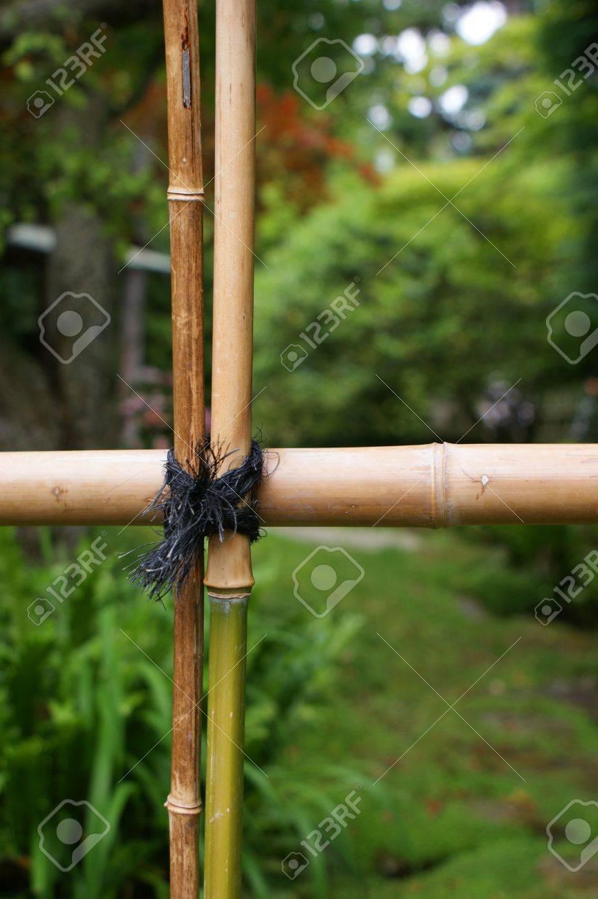 Détail De Clôture Du Bambou Dans Un Jardin Japonais Banque D ...