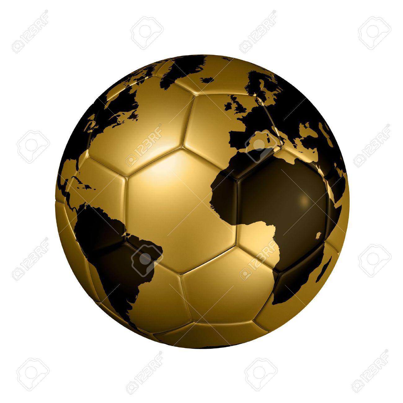 3d Isoliert Gold Soccer Ball Mit Weltkarte Fußball Wm 2010