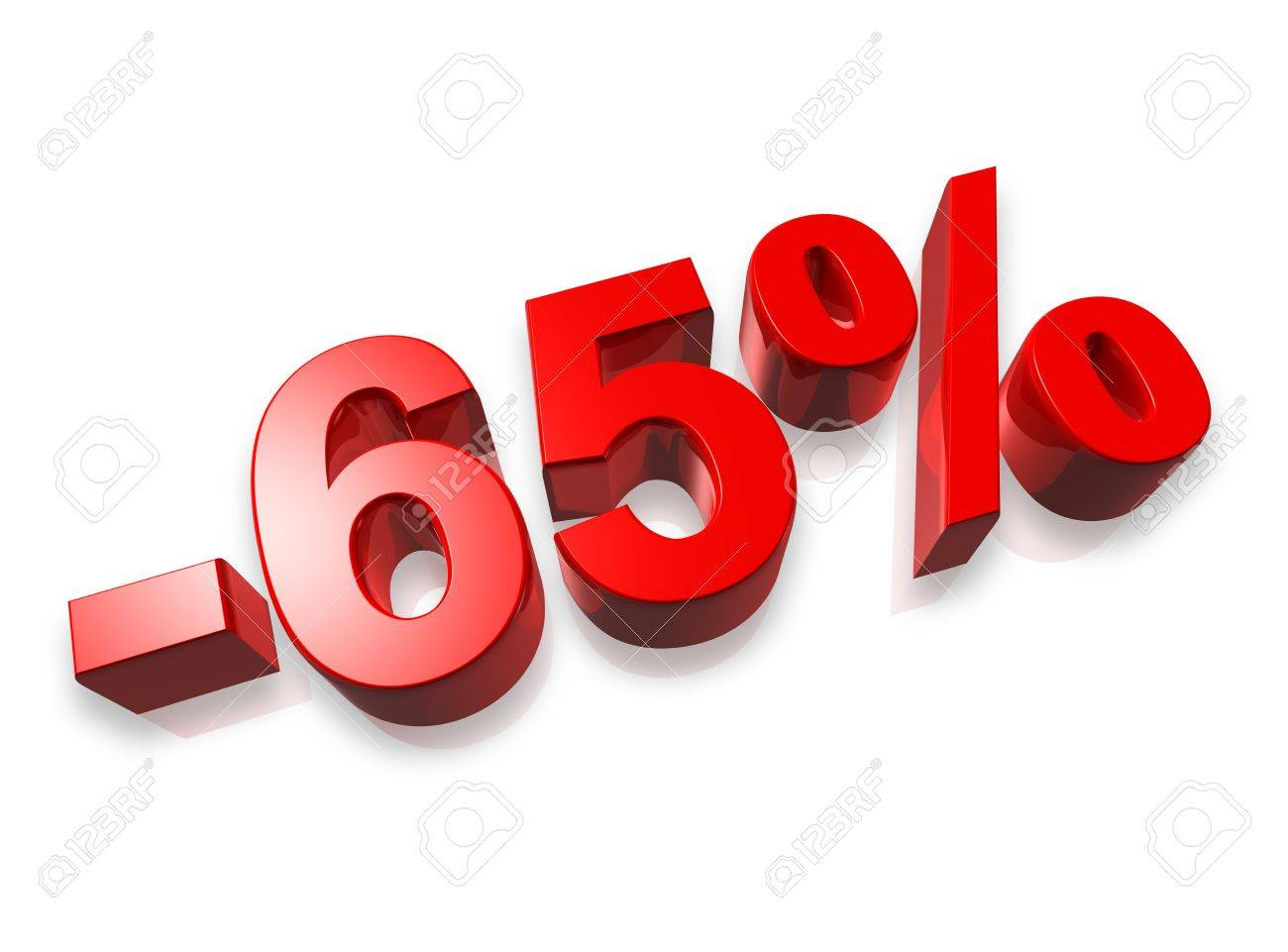 sixty five percent 3D number isolated on white - 65% Stock Photo - 7072928