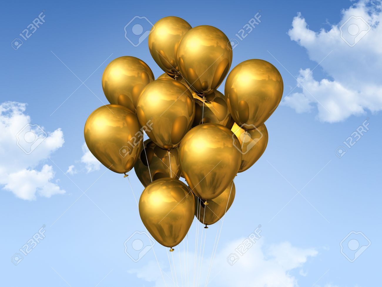 gold air balloons floating on a blue sky Stock Photo - 8859291
