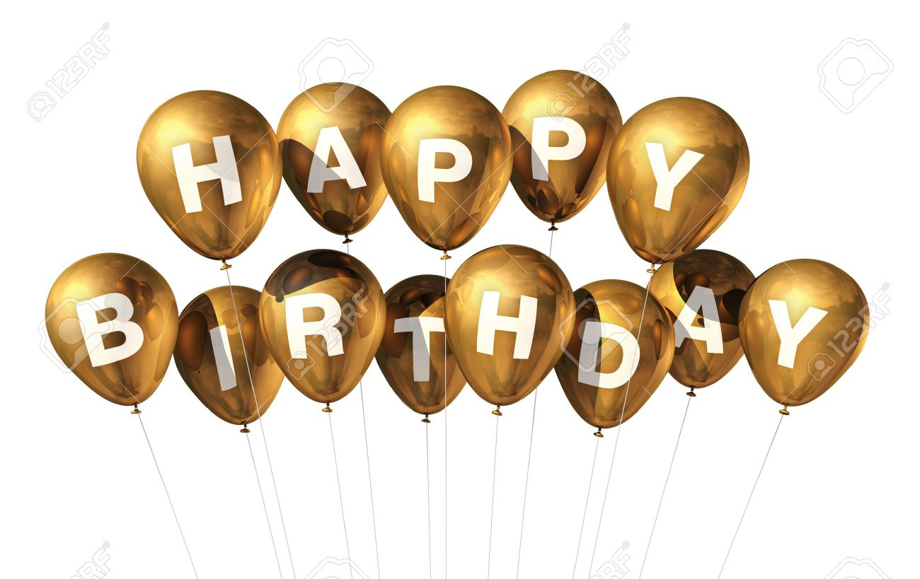 3D Gold Happy Birthday Balloons Isolated On White Background Stock ...