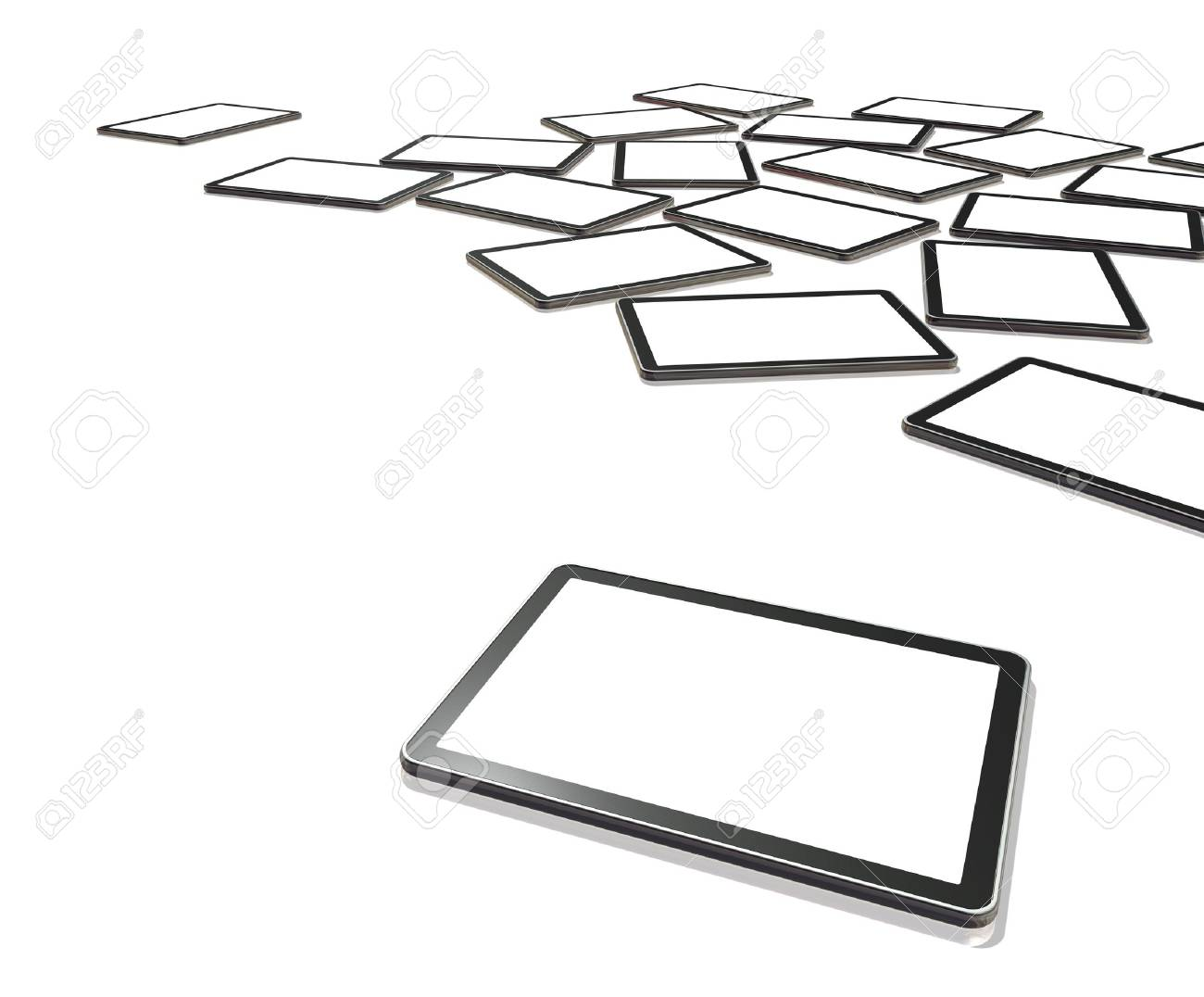 3D televisions, digital tablet PC isolated on white with screens clipping path Stock Photo - 9370820