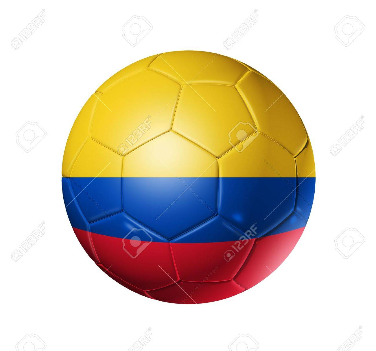 3D soccer ball with Colombia team flag. isolated on white with clipping path Stock Photo - 9553078