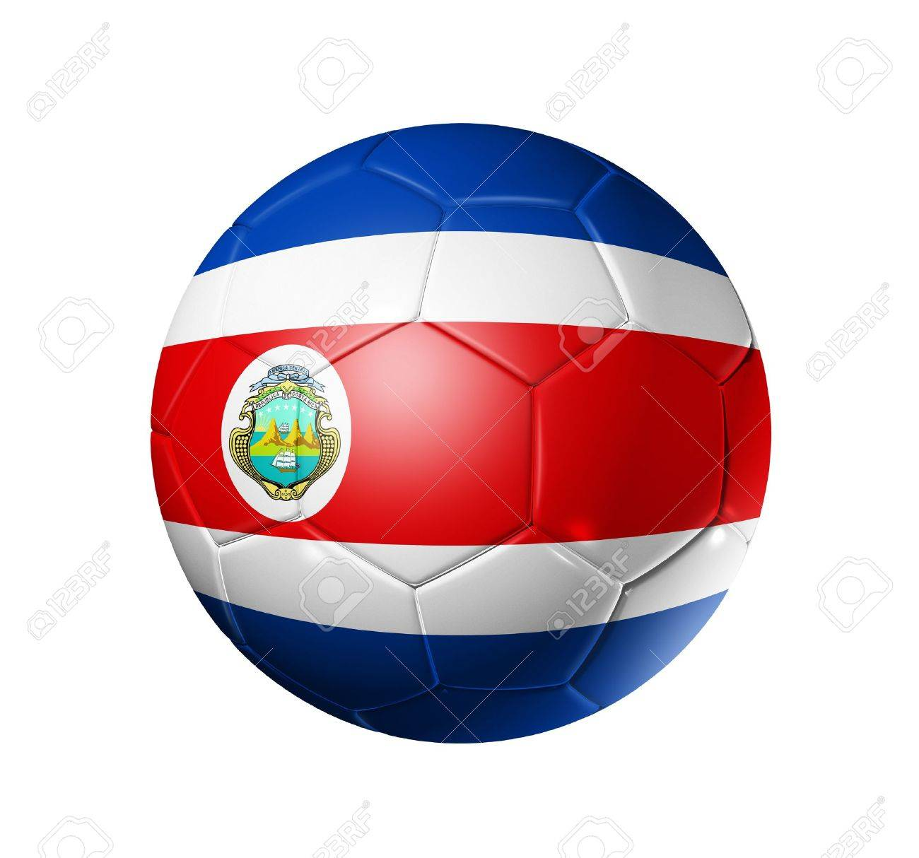 da755b46262 3D soccer ball with Costa Rica team flag. isolated on white with clipping  path Stock