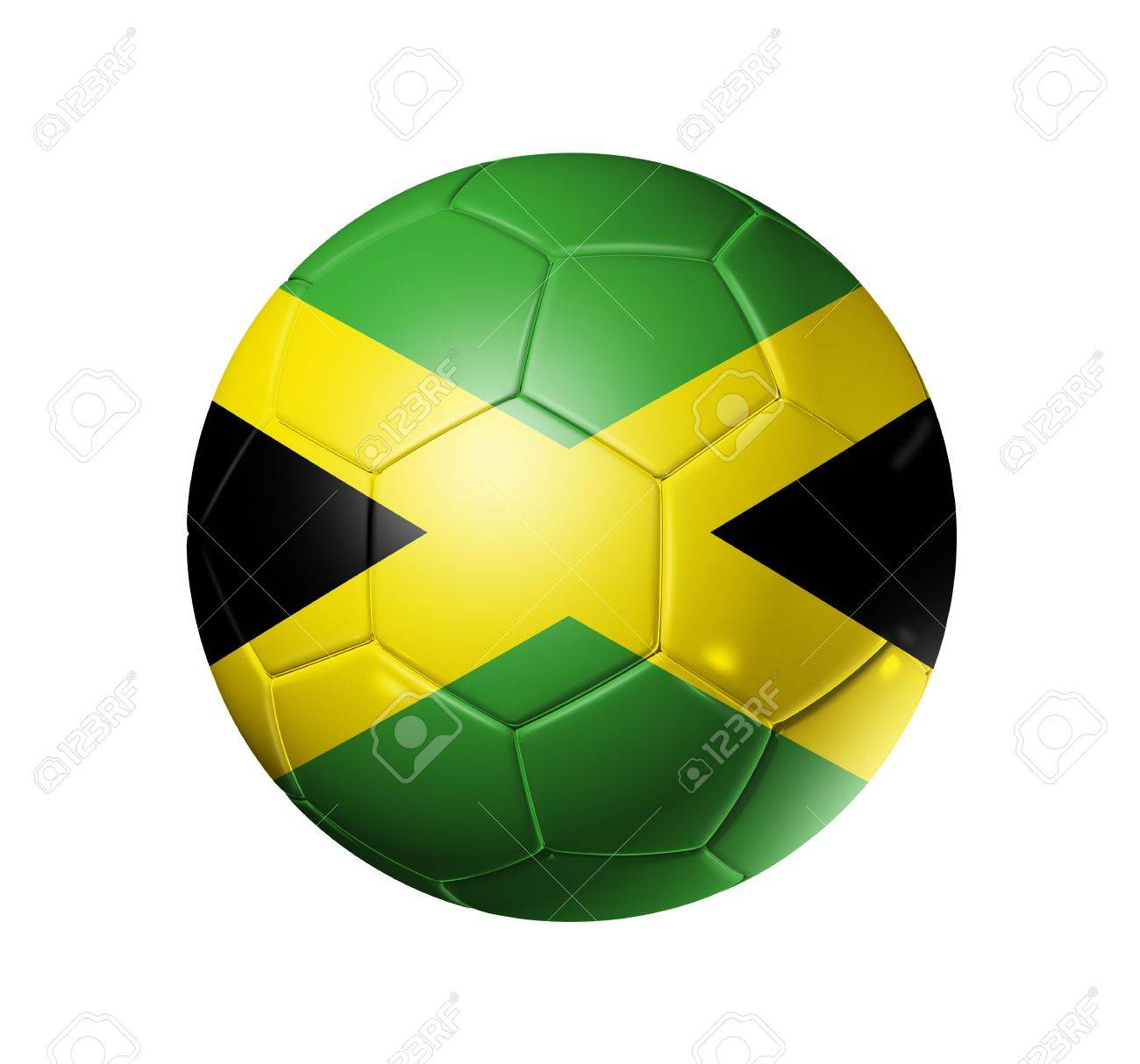 0921bc3bb2e 3D soccer ball with Jamaica team flag. isolated on white with clipping path  Stock Photo