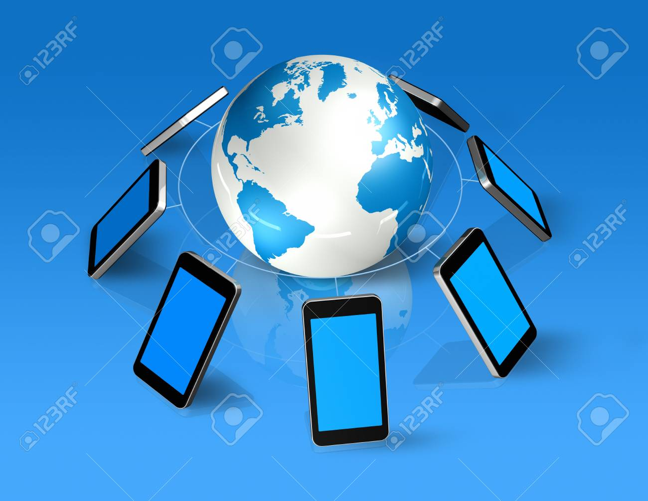 3D isolated mobile phones around a world globe Stock Photo - 9553095
