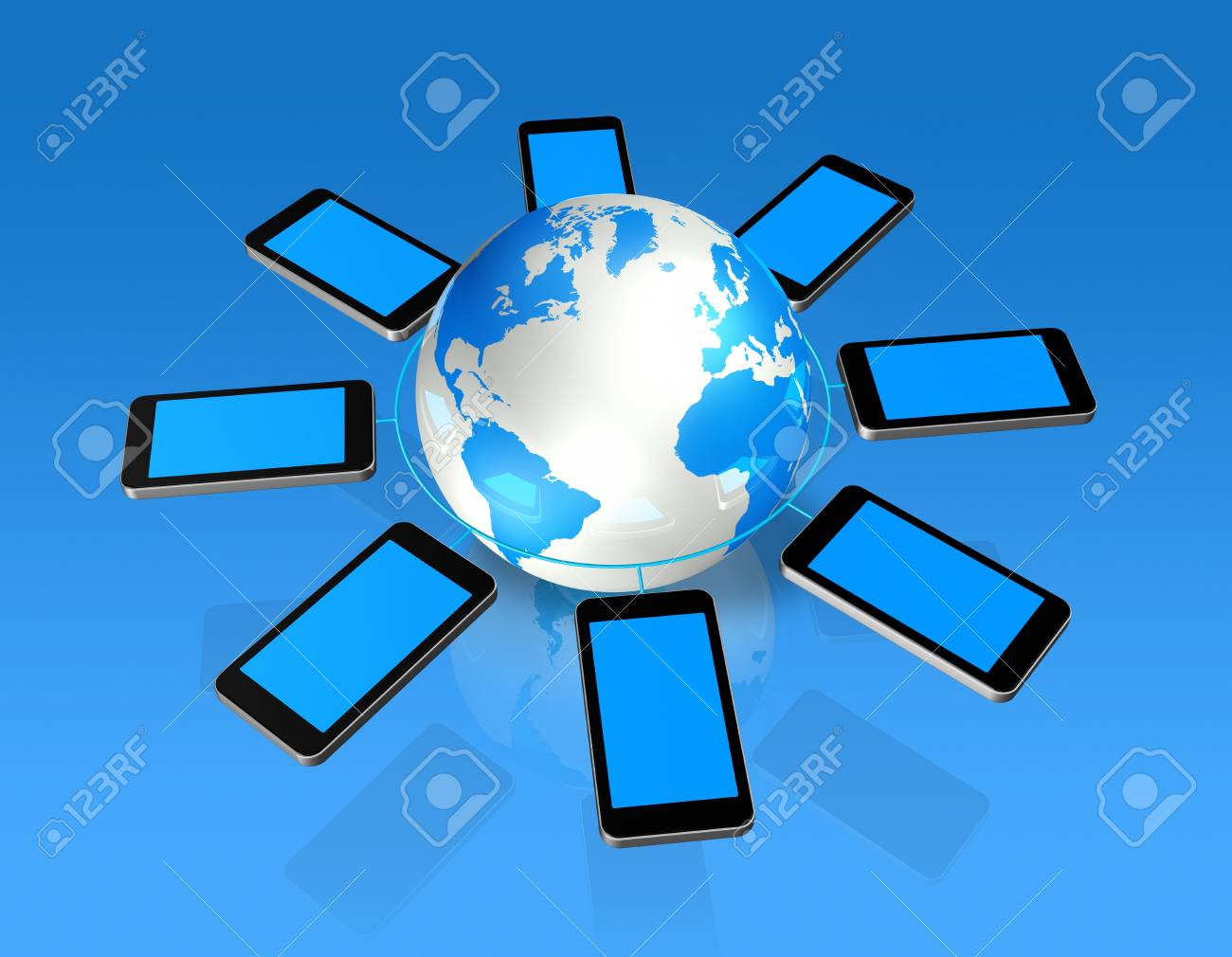 3D isolated mobile phones around a world globe Stock Photo - 9553093