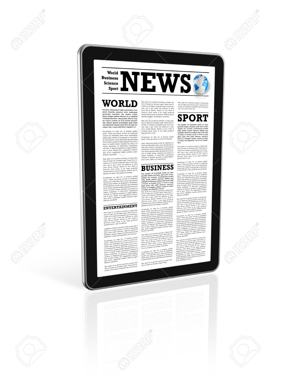 News on a digital tablet pc computer - isolated on white with 2 clipping path : one for global scene and one for the screen Stock Photo - 9553086