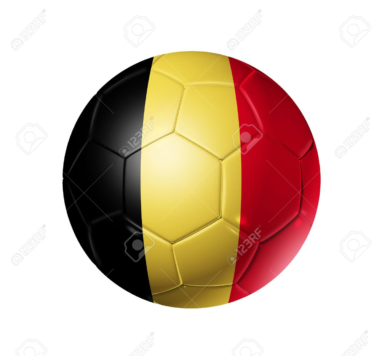 3D soccer ball with Belgium team flag. isolated on white with clipping path Stock Photo - 9804935