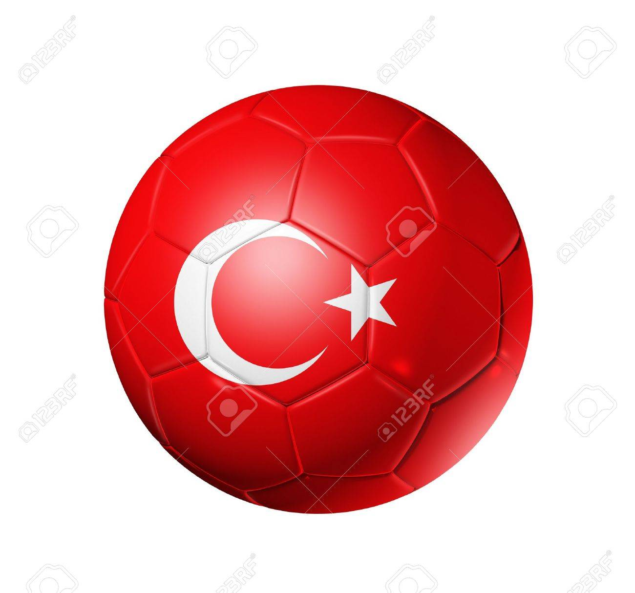 8023aefb695 3D soccer ball with Turkey team flag. isolated on white with clipping path  Stock Photo