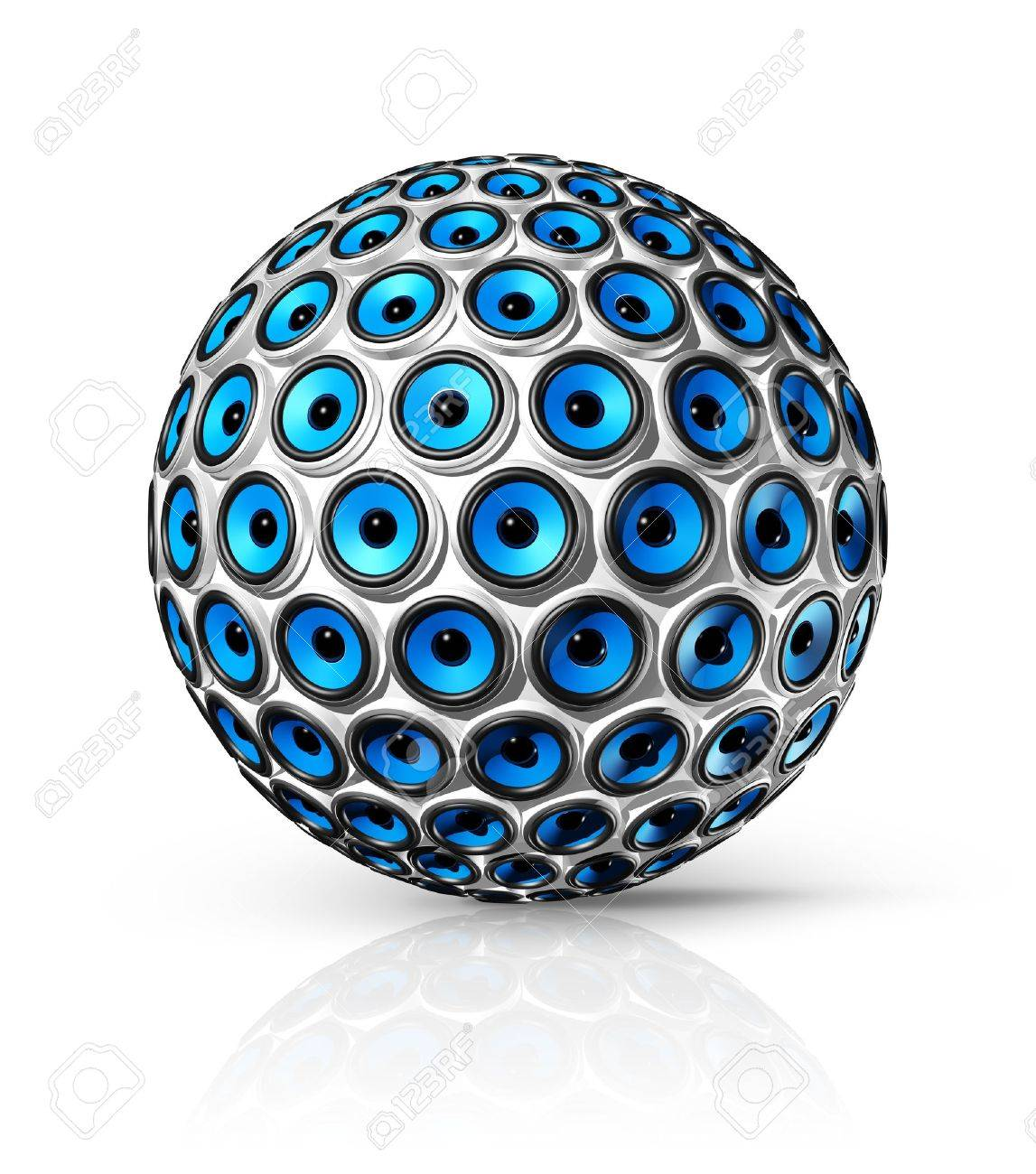 three dimensional blue speakers sphere isolated on white Stock Photo - 9958655