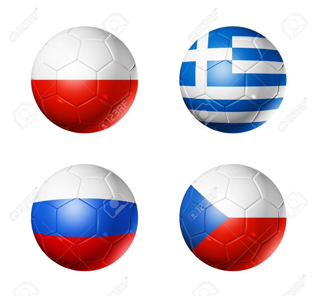 3D soccer balls with group A teams flags. UEFA euro football cup 2012. isolated on white Stock Photo - 11556839