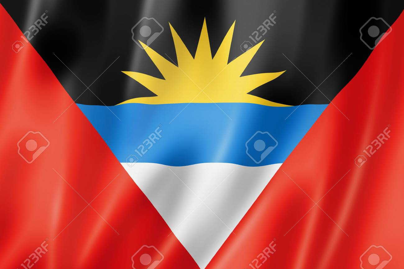 Antigua and Barbuda flag, three dimensional render, satin texture Stock Photo - 15091609