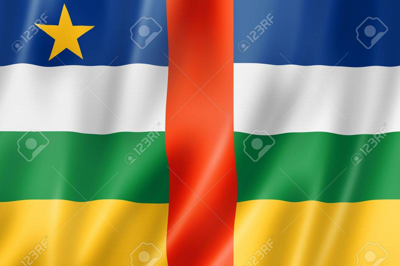 Central Africa flag, three dimensional render, satin texture Stock Photo - 16427490