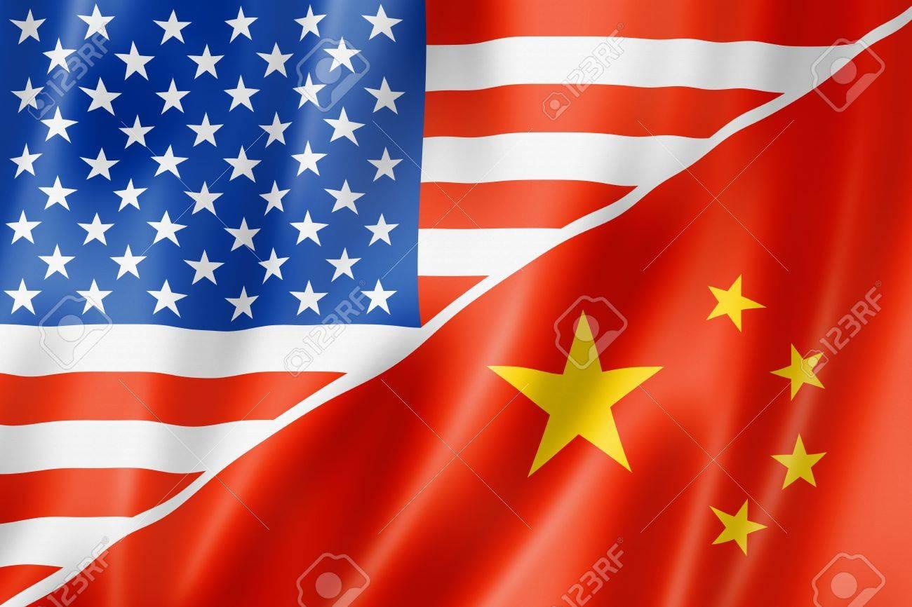 Mixed USA And China Flag, Three Dimensional Render, Illustration ...