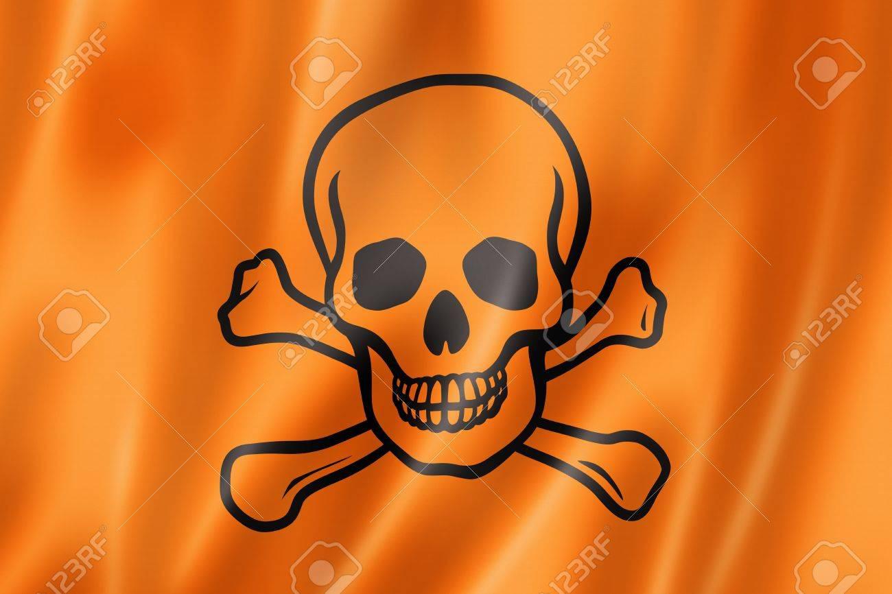 toxic poison skull flag, three dimensional render, satin texture Stock Photo - 20670156
