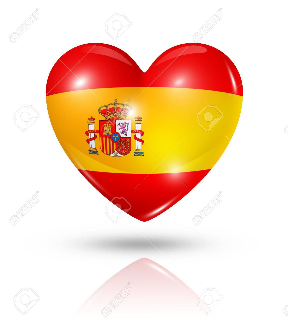 Love Spain symbol. 3D heart flag icon isolated on white with clipping path Stock Photo - 21893102