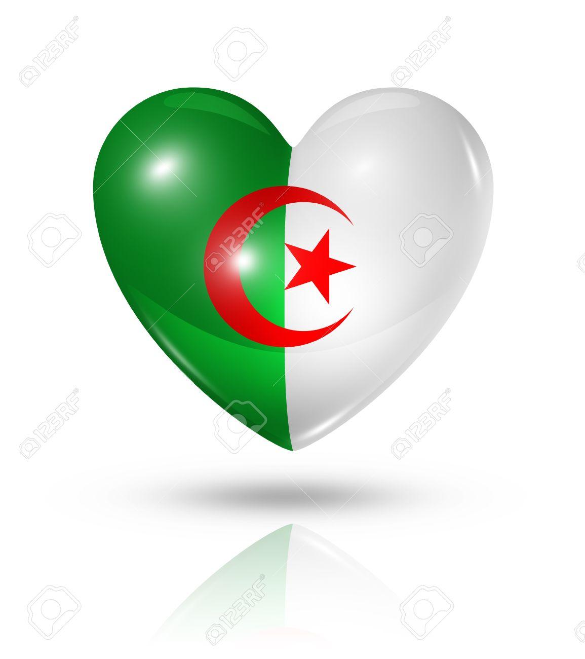 Algerie Drapeau algérie symbole drapeau de coeur 3d amour banque d'images et photos