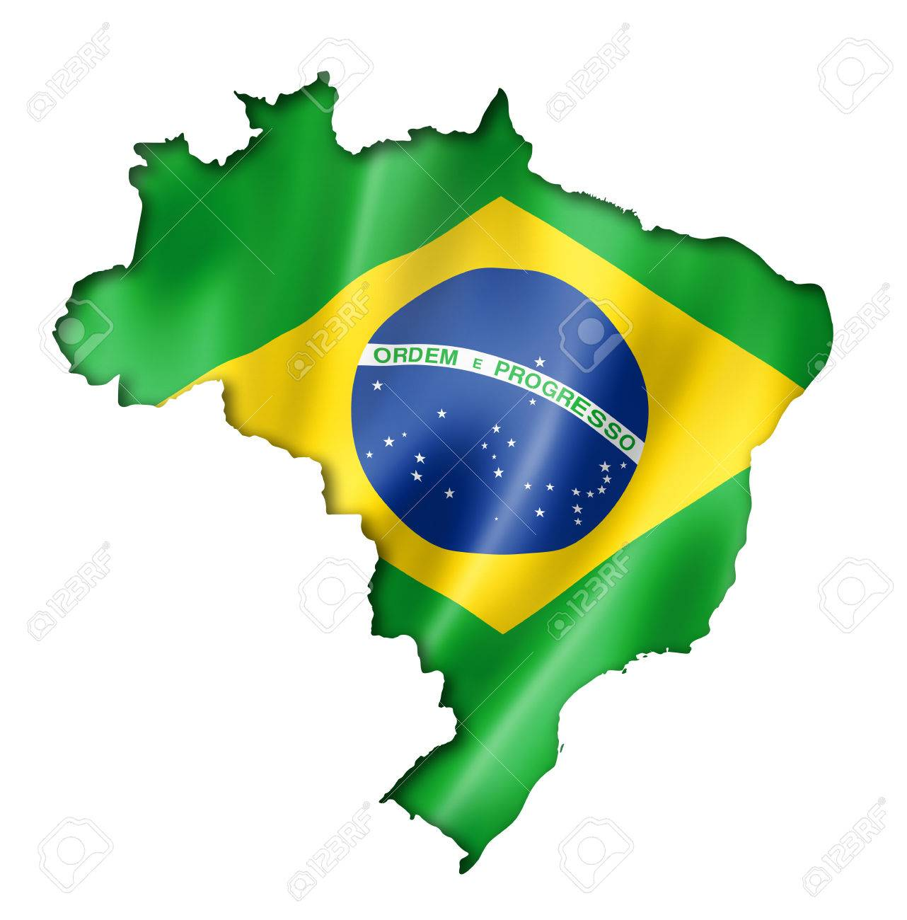 Brazil flag map, three dimensional render, isolated on white